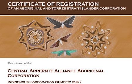 p2605 Central Arrernte Alliance Certificate 450