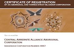 p2605 Central Arrernte Alliance certificate SM